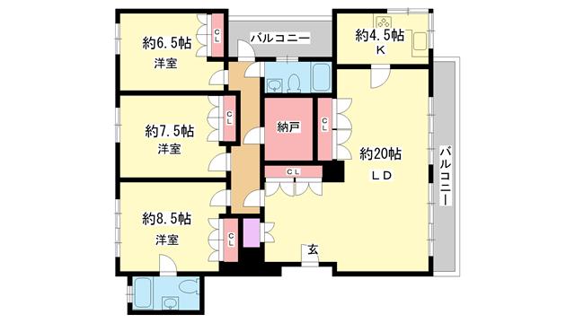 物件番号: 1025865341 第4スカイマンション  神戸市中央区北野町2丁目 3LDK マンション 間取り図