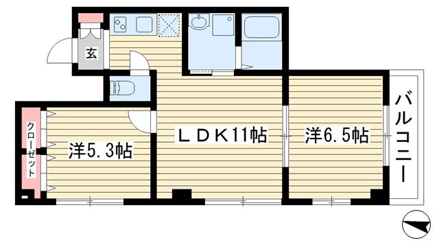物件番号: 1025865353 リーフビル  神戸市中央区大日通6丁目 2LDK マンション 間取り図