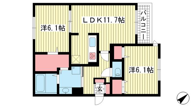 物件番号: 1025865648 エルクラシコ  神戸市東灘区森南町1丁目 2LDK マンション 間取り図