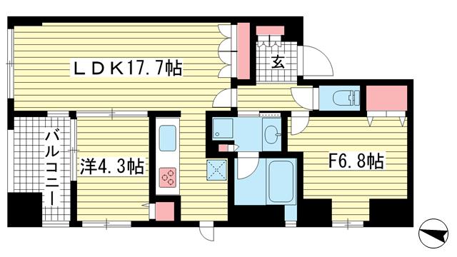 物件番号: 1025865661 ファスタージュ相楽園  神戸市中央区中山手通5丁目 1SLDK マンション 間取り図