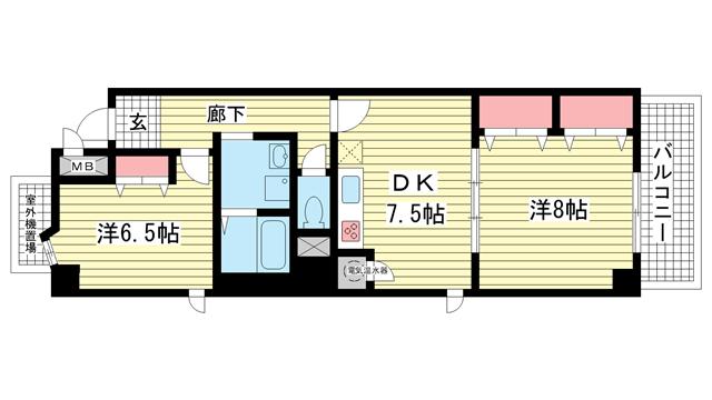物件番号: 1025865767 メインステージ兵庫  神戸市兵庫区新開地4丁目 2DK マンション 間取り図