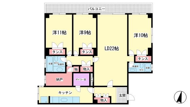 物件番号: 1025865772 MONARIZAマンション  神戸市中央区野崎通4丁目 3LDK マンション 間取り図