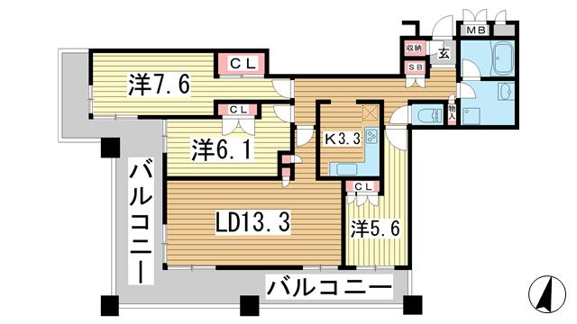 物件番号: 1025865888 トア山手 ザ・神戸タワー  神戸市中央区中山手通3丁目 3LDK マンション 間取り図