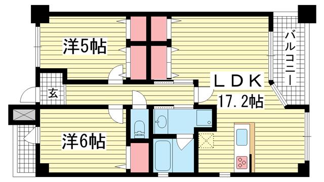 物件番号: 1025865912 サムティ三宮レガニール  神戸市中央区雲井通3丁目 2SLDK マンション 間取り図