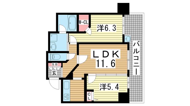 物件番号: 1025865942 エステムプラザ神戸元町・海岸通  神戸市中央区海岸通4丁目 2LDK マンション 間取り図