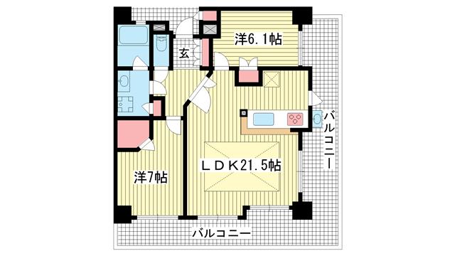 物件番号: 1025865948 ハーティネス・トアロード中山手  神戸市中央区中山手通3丁目 2LDK マンション 間取り図