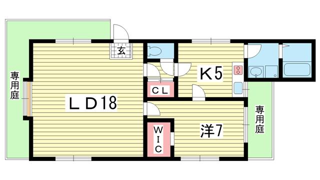 物件番号: 1025865973 コミュニティ熊内  神戸市中央区熊内町9丁目 2LDK ハイツ 間取り図