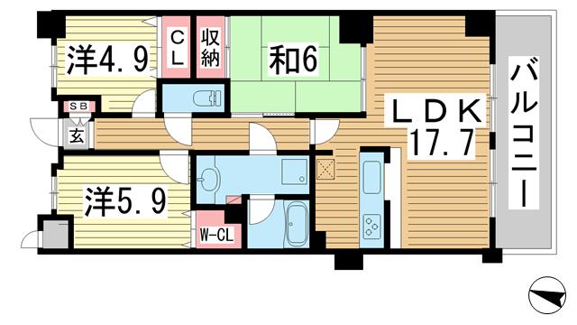 物件番号: 1025865983 カサベラ中山手通  神戸市中央区中山手通2丁目 3LDK マンション 間取り図