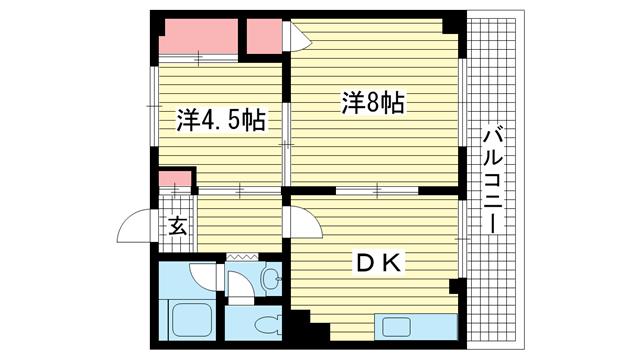 物件番号: 1025866292 国香レジデンス(旧:マトヤマンション  神戸市中央区国香通5丁目 2LDK マンション 間取り図