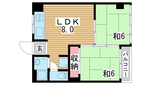 物件番号: 1025866378 久保田マンション  神戸市須磨区衣掛町5丁目 2LDK マンション 間取り図