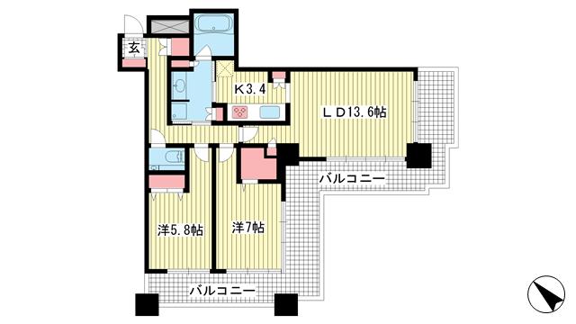 物件番号: 1025866455 トア山手 ザ・神戸タワー  神戸市中央区中山手通3丁目 2LDK マンション 間取り図