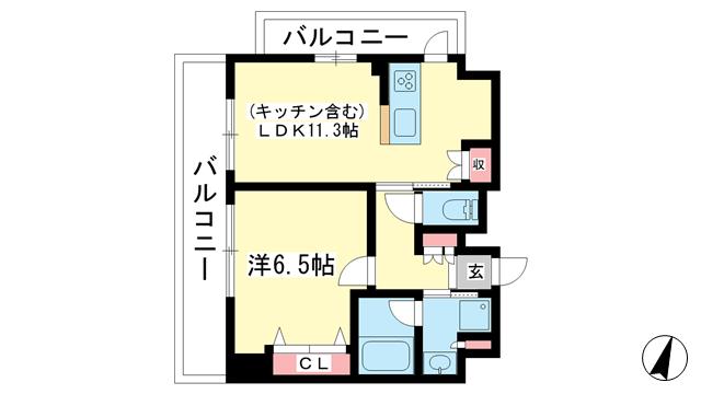 物件番号: 1025866523 ワコーレKOBE元町通  神戸市中央区元町通3丁目 1LDK マンション 間取り図