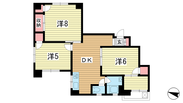 物件番号: 1025866566 新山本マンション  神戸市中央区山本通4丁目 3SDK マンション 間取り図