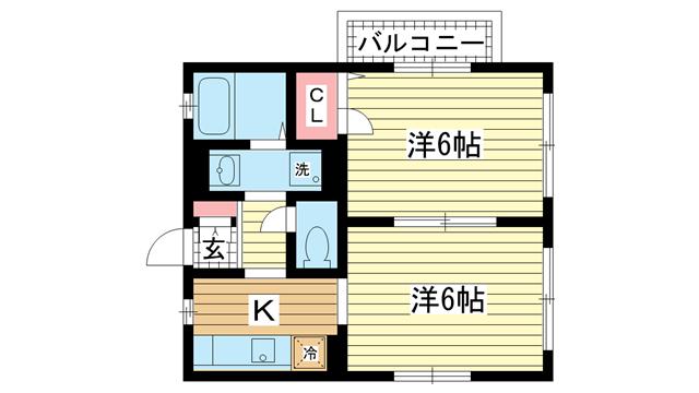 物件番号: 1025866588 中山手ガーデンパレスC棟  神戸市中央区中山手通7丁目 1LDK ハイツ 間取り図