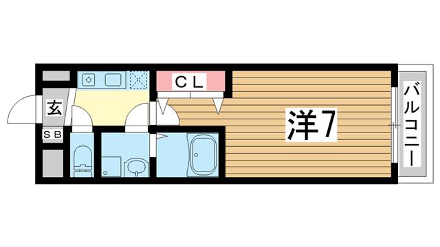 物件番号: 1025866756 サンモールアベニュー  神戸市中央区国香通6丁目 1K マンション 間取り図