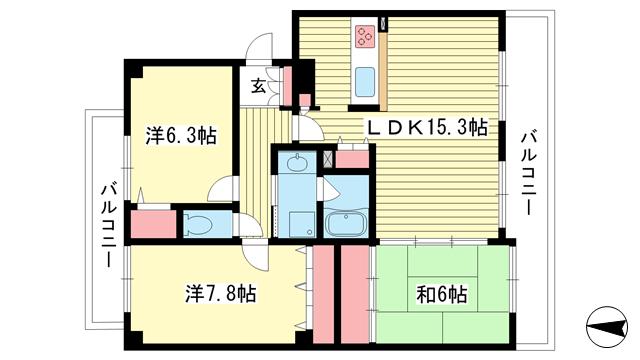 物件番号: 1025866886 ディオレ新神戸B  神戸市中央区中尾町 3LDK マンション 間取り図