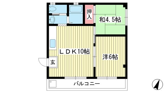 物件番号: 1025867038 スプリングハイツ東雲  神戸市中央区東雲通2丁目 2LDK マンション 間取り図
