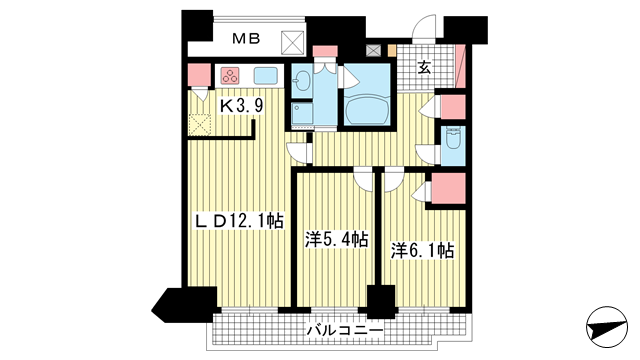 物件番号: 1025867044 ジークレフ新神戸タワー  神戸市中央区熊内町7丁目 2LDK マンション 間取り図