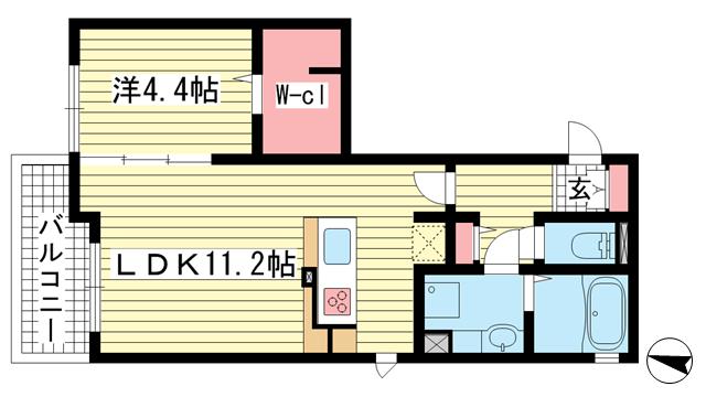 物件番号: 1025867195 六甲コルン  神戸市灘区高羽町5丁目 1LDK マンション 間取り図