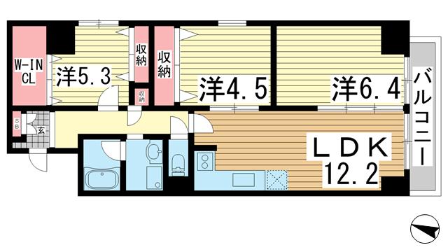 物件番号: 1025867239 シャンボール三宮  神戸市中央区熊内町4丁目 3LDK マンション 間取り図