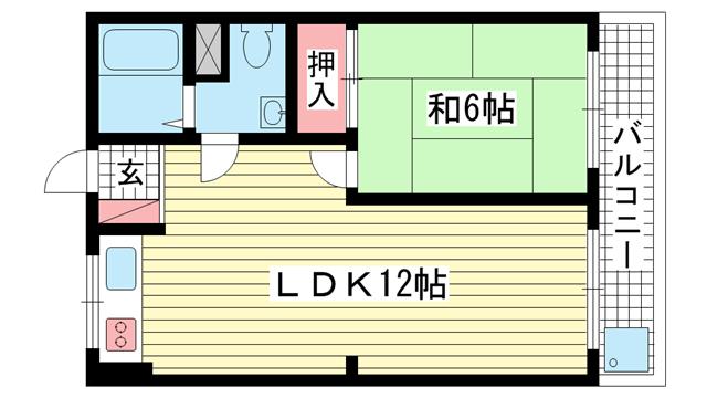 物件番号: 1025867318 ビューハイツ花隈  神戸市中央区花隈町 1LDK マンション 間取り図