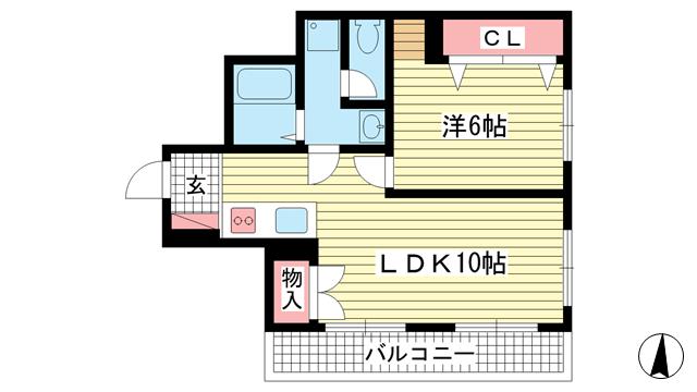 物件番号: 1025867319 ビューハイツ花隈  神戸市中央区花隈町 1LDK マンション 間取り図