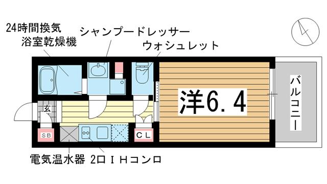 物件番号: 1025867353 アスヴェル神戸元町Ⅱ  神戸市中央区元町通5丁目 1K マンション 間取り図