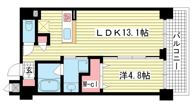 物件番号: 1025867435 ワコーレIXI神戸トアウエスト  神戸市中央区下山手通3丁目 1LDK マンション 間取り図