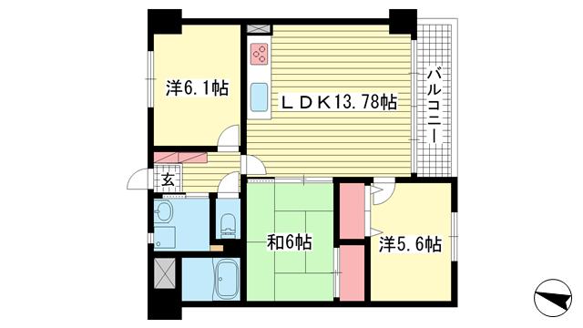 物件番号: 1025867673 エステムコート三宮東  神戸市中央区八雲通1丁目 3LDK マンション 間取り図