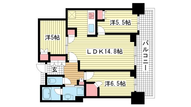 物件番号: 1025867899 シティタワー神戸三宮  神戸市中央区旭通4丁目 3LDK マンション 間取り図