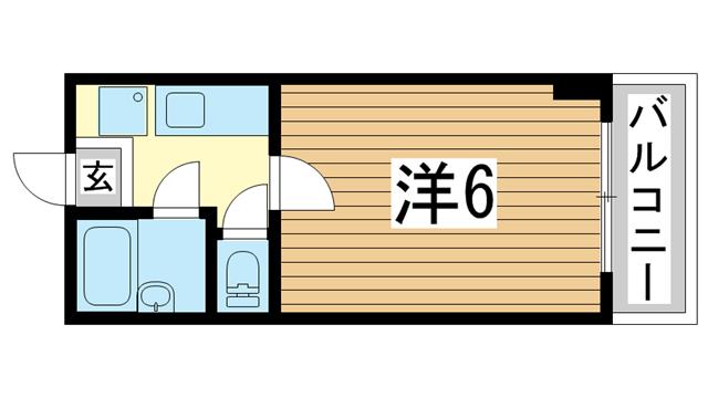 物件番号: 1025868033 山手ダイヤハイツ  神戸市中央区下山手通5丁目 1K マンション 間取り図