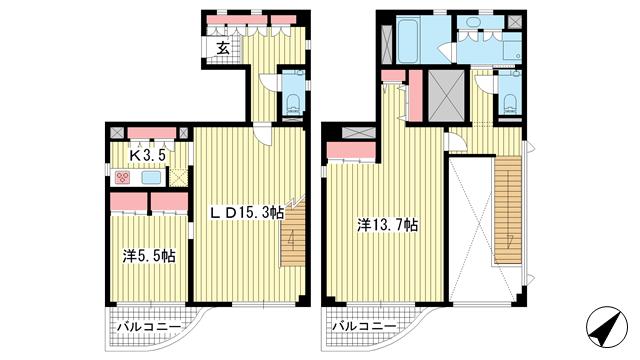 物件番号: 1025868318 カーサ・コモド  神戸市灘区森後町2 1LDK マンション 間取り図