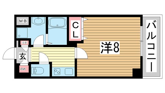 物件番号: 1025868540 リアライズ神戸WEST  神戸市長田区菅原通5丁目 1K マンション 間取り図