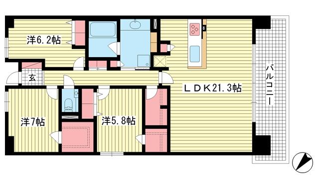 物件番号: 1025868604 ワコーレシティ神戸三宮  神戸市中央区浜辺通6丁目 3LDK マンション 間取り図