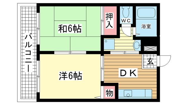 物件番号: 1025868606 ロイヤルコート山本通  神戸市中央区山本通4丁目 2DK マンション 間取り図