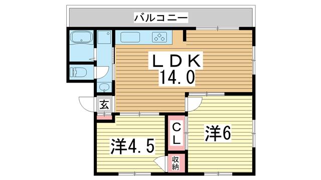 物件番号: 1025868680 グリーンヒル山本通  神戸市中央区山本通3丁目 3LDK マンション 間取り図