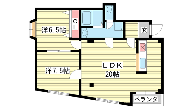 物件番号: 1025868716 グランディア 花隈ガーデン  神戸市中央区花隈町 2LDK マンション 間取り図