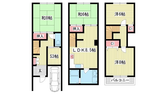 物件番号: 1025868771 神若通貸家  神戸市中央区神若通4丁目 4SDK 貸家 間取り図