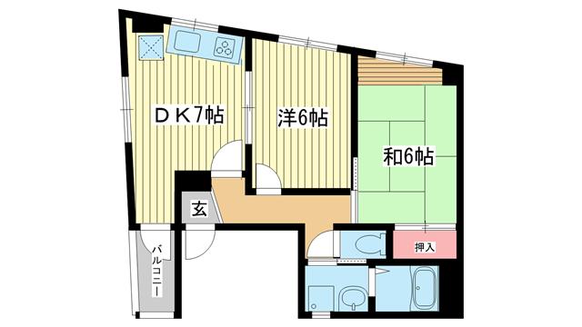 物件番号: 1025868812 坪井元町3ビル  神戸市中央区元町通3丁目 2DK マンション 間取り図