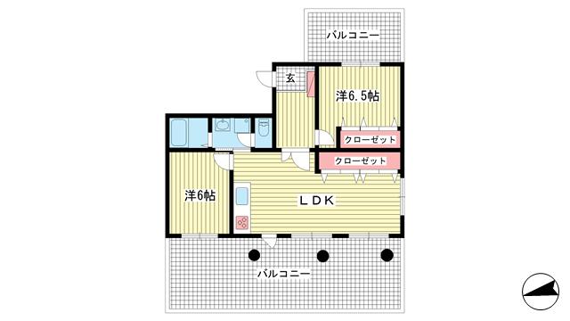 物件番号: 1025868869 モンラヴィ新神戸  神戸市中央区布引町2丁目 2LDK マンション 間取り図