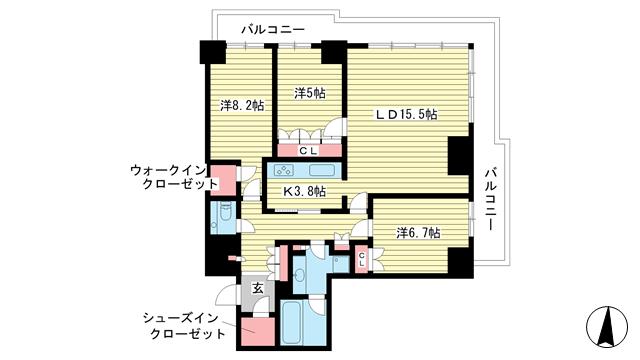 物件番号: 1025868927 ザ・パークハウス神戸ハーバーランドタワー  神戸市中央区東川崎町1丁目 3LDK マンション 間取り図