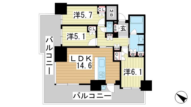 物件番号: 1025868928 プラウドタワー神戸県庁前  神戸市中央区下山手通4丁目 3LDK マンション 間取り図