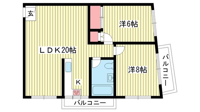 物件番号: 1025868983 第2スカイマンション  神戸市中央区北野町4丁目 2LDK マンション 間取り図