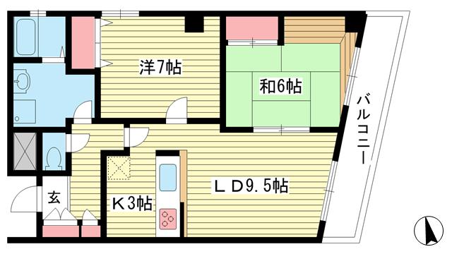 物件番号: 1025869062 クアトロ神戸  神戸市兵庫区新開地3丁目 2LDK マンション 間取り図