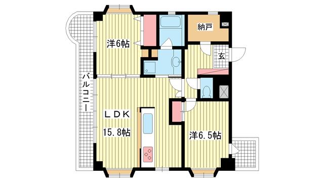 物件番号: 1025869069 幸福ビル  神戸市中央区相生町4丁目 2SLDK マンション 間取り図