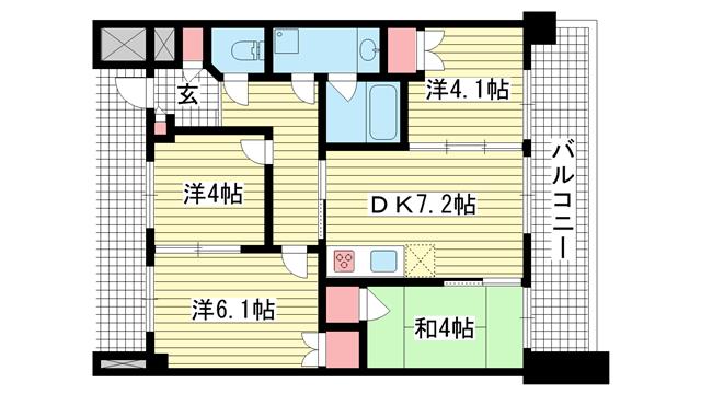 物件番号: 1025869078 トア山手フラッツ  神戸市中央区下山手通3丁目 4DK マンション 間取り図