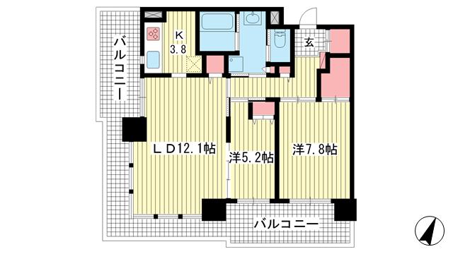 物件番号: 1025869084 エルグレース神戸三宮タワーステージ  神戸市中央区磯上通3丁目 2LDK マンション 間取り図