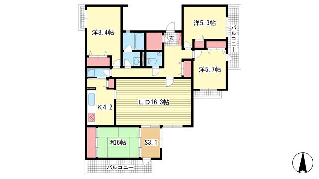 物件番号: 1025869109 シュネルパーク・レジデンス  神戸市東灘区西岡本6丁目 4SLDK マンション 間取り図