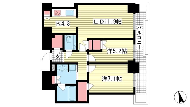 物件番号: 1025869123 ジークレフ新神戸タワー  神戸市中央区熊内町7丁目 2LDK マンション 間取り図