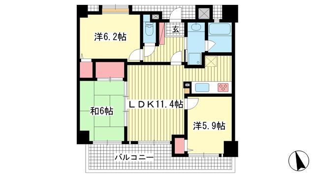 物件番号: 1025869147 ワコーレハーバーコート神戸  神戸市兵庫区七宮町2丁目 3LDK マンション 間取り図